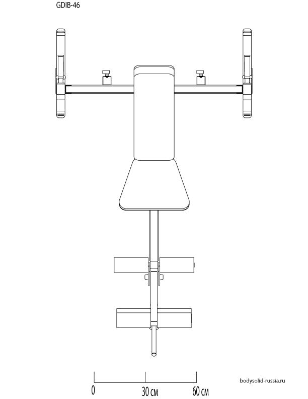 Чертёж тренажёра Силовая скамья для жима Body-Solid GDIB-46L.