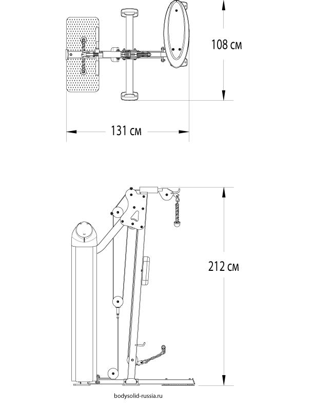 Чертёж тренажёра Бицепс/Трицепс Body-Solid S2BTP.