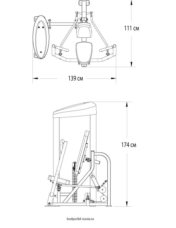 Чертёж тренажёра Горизонтальный жим от груди Body-Solid S2CP.