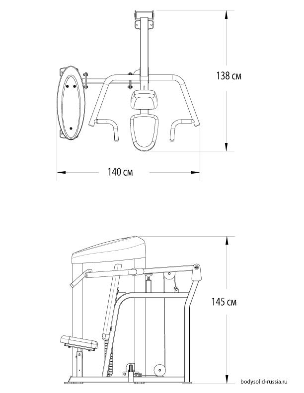 Чертёж тренажёра Вертикальный жим сидя Body-Solid S2SP.